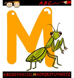 Letter m for mantis cartoon vector