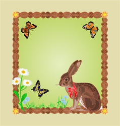 Easter hare with butterflies and daisy frame vector
