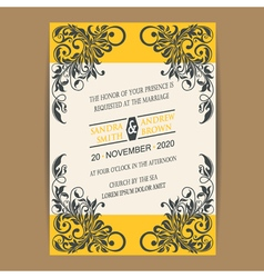 Wedding vintage wedding invitation vector image
