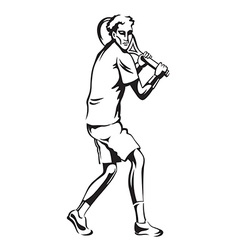 The athlete playing tennis vector