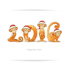 New year card with monkey in santa hat vector