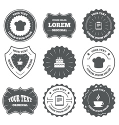Coffee cup icon chef hat symbol birthday cake vector