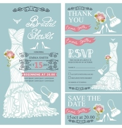 Bridal shower invitationswedding dressdecor vector