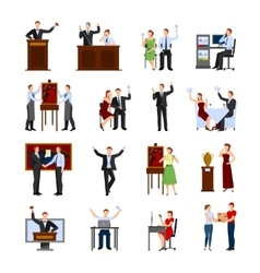 Auction people flat icons set vector