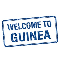 Welcome to guinea blue grunge square stamp vector