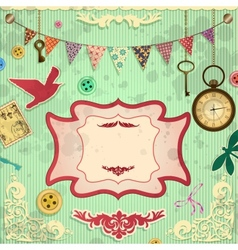 Vintage scrapbooking card vector