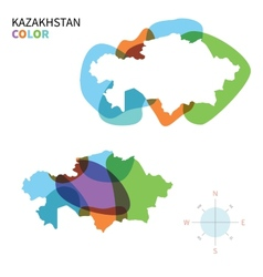 Abstract color map of kazakhstan vector