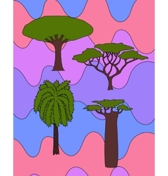african trees set vector image