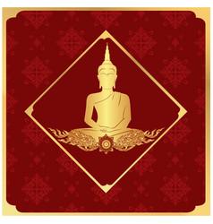 Buddha statue frame thai design red background vec vector