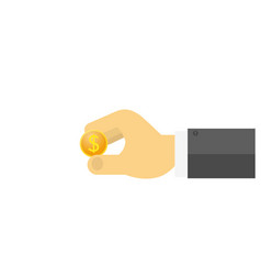 businessman holding a dollar coin in his hand on vector image vector image