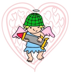 Cartoon army cupid art vector