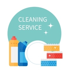 Cleaning supplies and household equipment tools vector