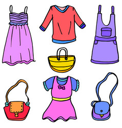 Clothes and bag doodles vector