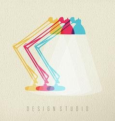 Design studio work lamp icon concept color design vector image vector image