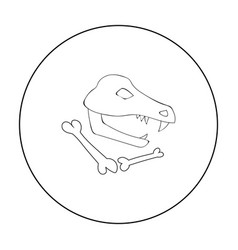 Dinosaur fossils icon in outline style isolated on vector