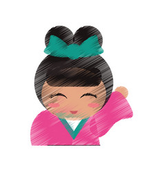 drawing japanese doll portrait vector image