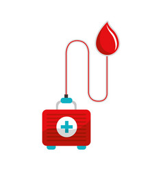Drop transfusing blood in the first aid kit vector