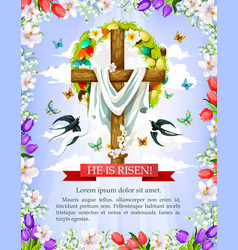 Easter cross with flower egg wreath greeting card vector