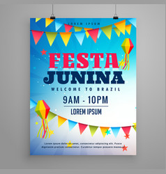festa junina celebration poster flyer design with vector image vector image