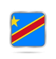 Flag of dr congo metallic gray square button vector