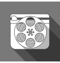 Flat long shadow cinema icon vector image