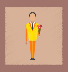 Flat shading style icon schoolboy flowers vector