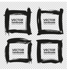 Four square frames from black abstract smears vector