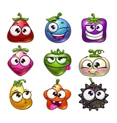 Funny cartoon fruit and berry characters set vector