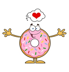 Funny Inlove Donut Cartoon vector image vector image