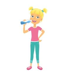 Happy girl with bottle of water vector