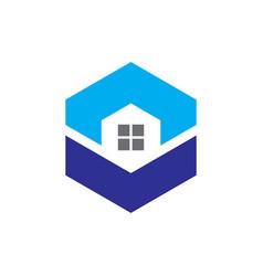 hexagon windows housing logo vector image vector image