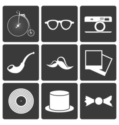 Icons with set hipster items vector image