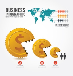 Infographics money and gold coin business vector