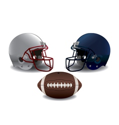 Isolated american football helmets and ball vector