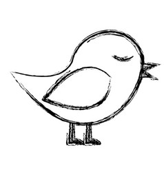 Monochrome sketch of bird in closeup vector