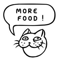 more food cartoon cat head speech bubble vector image