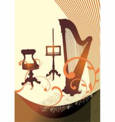 musical harp vector image vector image