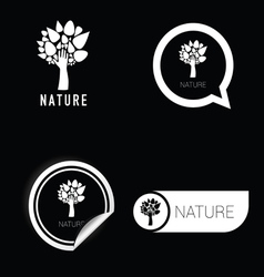 nature symbol black and white vector image vector image