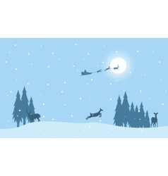 Reindeer and train santa on sky landscape vector