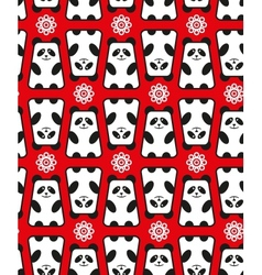 Seamless pattern with panda and flowers vector