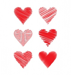 set of scribbled hearts vector image