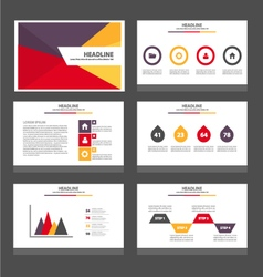 Yellow purple green presentation templates set vector