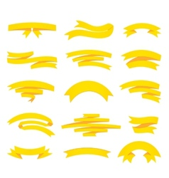 yellow ribons set isolaten on background vector image vector image