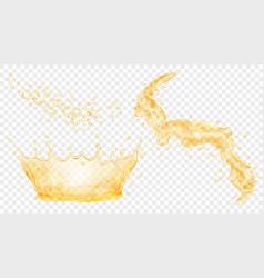 yellow water crown drops and splash of water vector image vector image