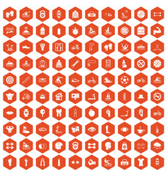 100 men health icons hexagon orange vector