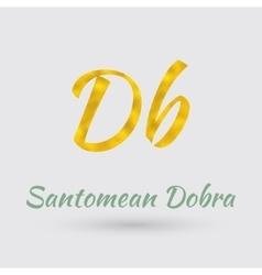 Golden Santomean Dobra Symbol vector image