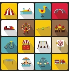 Amusement park icons set flat style vector