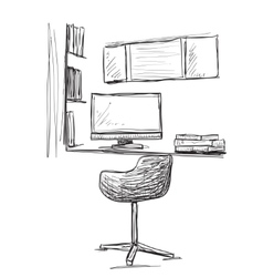 Hand drawn workplace chair and computer vector