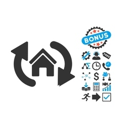 Update house flat icon with bonus vector