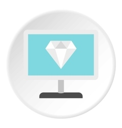 Monitor with diamond icon flat style vector